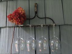 Vintage Rake Wine Glass Rack