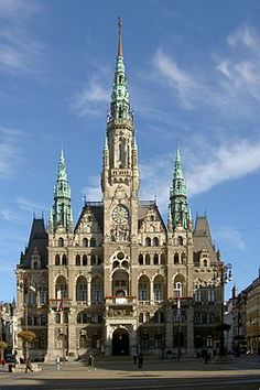 Liberec Town Hall is a large building in the town of Liberec, Czech Republic.  Liberec town hall is a Neo-Renaissance building, which was built from 1888 till 1893 by design of the Viennese architect, Franz Neumann, replacing earlier structures dating to 1602.  The building has a richly decorated façade, integrated artwork, and very rare stained glass windows.