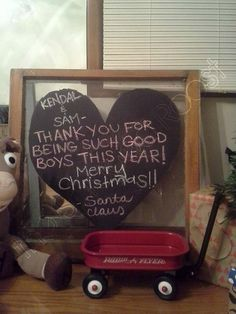 Letter from Santa, Heart Chalkboard on Window