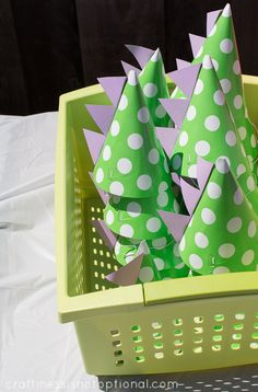 craftiness is not optional: super cute ideas for girl's dinosaur birthday party: Dino party hats, Dino-inspired menu