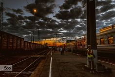 Sunset on taint station by dread003111  Russia clouds hdr sky sun sunset train train station dread003111