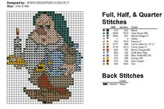 7 Dwarfs with color chart- part 2 of 7 Cross Stitch Patterns Free Disney, Cross Stitch Freebies, Counted Cross Stitch Patterns, Cross Stitch Designs, Cross Stitch Boards, Cross Stitch Baby, Stich Disney, Walt Disney, Stitch Character
