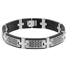 http://eeryjewelry.com/ Men's Steel Jewelry - Mens Black Plated Two Tone 12MM Steel Link Bracelet - Gemologica, A Fine Online Jewelry Store #steel jewelry for men -  gemologica -  steel bangle bracelets