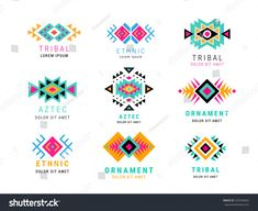 Similar Images, Stock Photos & Vectors of Aztec or apache motif style logo set. Collection of logotype in tribal indian style illustration - 581287609 Native American Patterns, Native American Symbols, Native American Beadwork, American Indians, Tribal Logo, Geometric Logo, Wedding Website Examples, Website Ideas, Broderie Simple