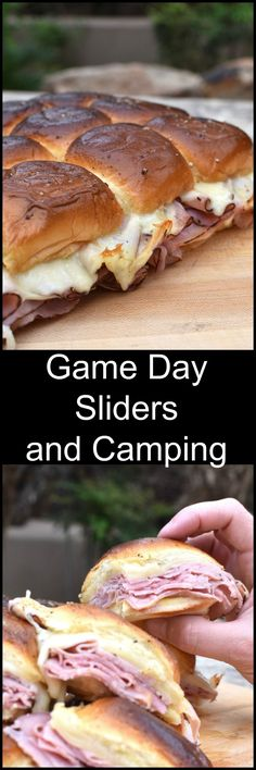 Game Day Hot Ham and Cheese Sliders – perfect whether you're sitting at home or enjoying a Camping weekend! So easy! Game Day Hot Ham and Cheese Sliders – perfect whether you're sitting at home or enjoying a Camping weekend! So easy! Campfire Food, Snacks Für Party, Ham And Cheese, Cheese Food, Football Food, Game Day Food, Camping Meals, Camping Tips, Camping Dishes