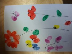 Fingerprint art done by my daughter's class.  Each child added their fingerprint to make this card for my daughter.