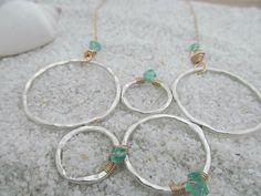 Women's Statement Necklace Blue Aquamarine by RoseGilleyDesigns, $120.00