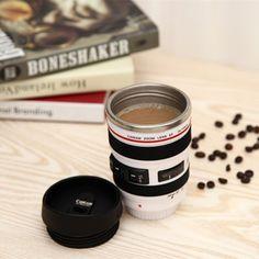 400ml Creative Stainless Steel Lens Coffee Mug Tea Cup With Lid