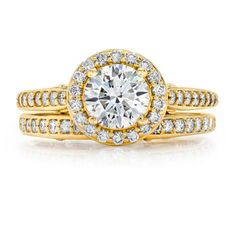 Round Brilliant 1.66 ctw VS1 Clarity F Color Diamond 14kt Yellow Gold Wedding Set