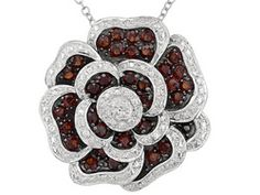 1.75ctw Round Vermelho Garnet And White Topaz Sterling Silver Flower Pendant With Chain