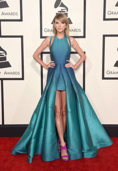 Taylor Swift wears ELIE SAAB Ready-to-Wear Spring Summer 2015 to the 57th Grammy Awards in LA.
