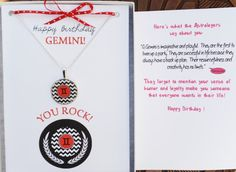 Gemini Jewelry & Gemini Birthday Card  by GirlPowerCardsRock is so unique to give a birthday girl bewtween May 21st - June 20. Gemini Birthday, Birthday Wishes, Girl Birthday, Birthday Cards, Happy Birthday Greeting Card, Matching Necklaces, Chevron, Encouragement, June