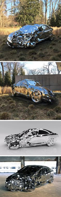 A Wrecked Luxury Car Built From Over 12,000 Reflective Steel Parts