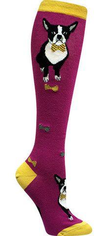 Boston Terrier Crazy Animal Novelty Knee High Socks for Women