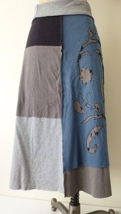 upcycled denim skirts | Repurposed Upcycled OOAK Tshirt jersey skirt by beadopathyetc, $72.00 ...