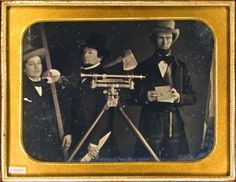 ca. 1850's, [disorderly daguerreotype portrait of a surveying team holding surveyors tools;  a book, ax, transit, stick], H. G. Fetter via the Daguerreian Society, Matthew R. Isenburg Collection