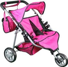"""Mommy & Me Twin Doll Stroller with Free Carriage Bag - 9667 by Toys To Discover. $39.99. Color hot pink & black, holds up to 2 18'' dolls.. Basket in bottom, Folds very easy , made of top quality, color hot pink & black. Safety tested for led free. Truly a master piece & a very amazing gift. The dimensions are: 22x20x22"""". very easy to assemble.. Your little princess also wants a twin stroller this stroller is designed for 1-4 YR old. It is truly top quality & light w..."""