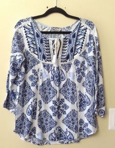 NWT LUCKY BRAND WOMEN'S MULTI-COLOR COTTON BLEND 3/4 SLEEVE BLOUSE SIZE M #LuckyBrand #Blouse