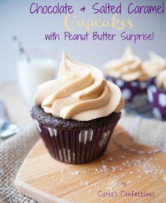 Bits of Sunshine: Chocolate & Salted Caramel Cupcakes - with a Peanut Butter Surprise {Guest Post by Carlas Confections}