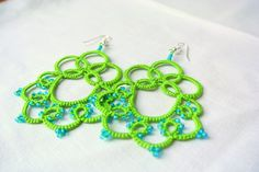 Tatted earrings lime green fluo and turquoise Chandelier  lace jewelry Frivolite Beaded fibre jewelry  Lightweight filigree