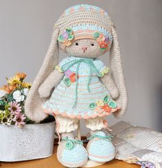 Crochet pattern - Floral Girls Outfit - garments for Kitty, Bunny or Lamb toys / amigurumi animals by Polushkabunny Crochet Cat Toys, Crochet Doll Pattern, Crochet Bunny, Crochet Toys Patterns, Stuffed Toys Patterns, Crochet Patterns Amigurumi, Amigurumi Doll, Crochet Dolls, Doll Patterns