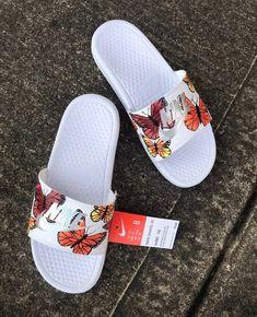 Nike Butterfly Custom Slides on Mercari Cute Nike Shoes, Cute Nikes, Nike Air Shoes, Jordan Shoes Girls, Girls Shoes, Nike Slide Sandals, Fluffy Shoes, Nike Slippers, Aesthetic Shoes