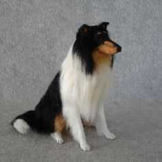 A playscale collie soft sculpture by Lucy Maloney