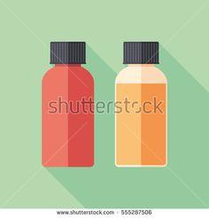 Flat cap e-liquid bottles flat square icon with long shadows. #vape #vaping #flaticons #vectoricons #flatdesign