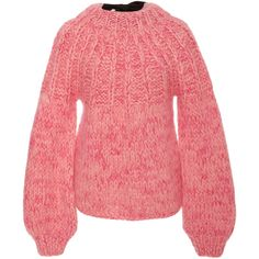 Ganni The Julliard Mohair and Wool-Blend Sweater (9.995.480 VND) ❤ liked on Polyvore featuring tops, sweaters, pink, bow top, red bow top, wool blend sweater, red top and pink bow sweater