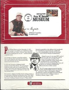 Paul Bear Bryant First Day Issue Envelope 169 1323 Alabama Crimson Tide | eBay