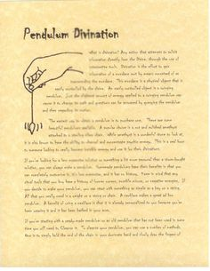 Divination:  Pendulum Divination.
