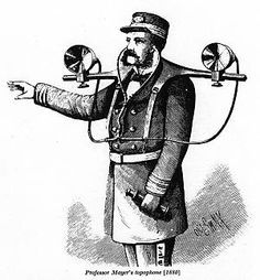 Professor Mayer's topophone: 1880.  This image has been reproduced many times in the past, but as it is the earliest audio-location device I have found so far, so here it is. It was devised to assist navigation in fog. I have no information on its success or otherwise.    Image from Scientific American 1880.