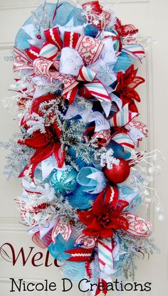 Blue White and Red Swag Poinsettia Wreath Snow by NicoleDCreations