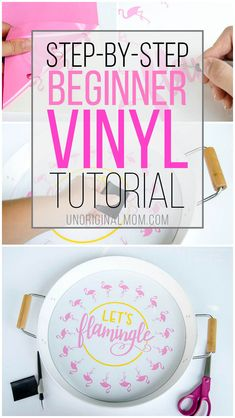 """Beginner Vinyl Tutorial: """"Let's Flamingle"""" Cut File + Tray New to vinyl? Here's a detailed, step-by-step beginner vinyl tutorial to make an adorable """"Let's Flamingle"""" tray with your Silhouette Cameo! Vinyl Diy, Diy Vinyl Projects, Vinyl Gifts, Cricut Vinyl, Diy Cutting Board, Vinyl Cutting, Silhouette Cameo Tutorials, Silhouette Projects, Cricut Tutorials"""