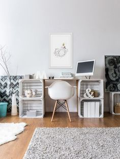 Home Furniture Indian - Clever Home Furniture Indian -Clever Home Furniture Indian - Clever Home Furniture Indian - 38 Cheap Diy Ideas For Home Decor ⋆ ub boho office with eclectic gallery wall. DIY crate desk via DIY Desk Designs You Ca. Crate Desk, Crate Furniture, Furniture Ideas, Office Furniture, Bedroom Furniture, Cheap Furniture, Furniture Design, Diy Home Furniture, Furniture Dolly