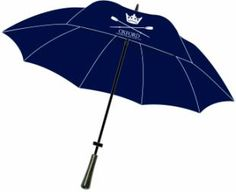OUWBC Golf Umbrella Navy golf umbrella with dark Milano wood handle. The Oxford University Women's Boat Club logo is printed on one panel. Measures (85cmm) in length including handle. Profits from the sale of this item help to support OUWBC.