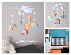 Orange and Blue Baby Mobile