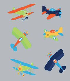 Kids childrens vinyl wall decal Vintage AirPlanes set of 6. $40.00, via Etsy.