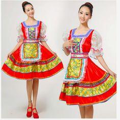 33.81  2016 haute qualité traditionnelle russe nationale costume de danse  mode rouge combinaison jupe femmes robe d été tj85 dans Chinois Danse  Folklorique ... 6746c205bee8