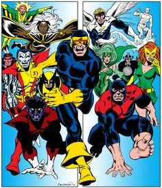 """erik-dane: """" Colors 1975 Cockrum X-Men by Frank Stone It was published as the cover of the issue of Marvel's old fan club magazine FOOM (Friends Of Ol' Marvel) """" Comic Book Characters, Marvel Characters, Comic Character, Comic Books Art, Comic Art, Character Design, Book Art, Marvel Comics, Marvel E Dc"""