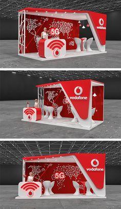 Vodafone Booth Design Trade Show Booth Design, Stand Design, Design Design, Graphic Design, Interior Design, Exhibition Stall Design, Exhibition Display, Exhibition Stands, Web Banner Design