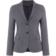 Gant Micro Pattern Jersey Blazer ($325) ❤ liked on Polyvore featuring outerwear, jackets, blazers, blue, women, patterned blazer, blue cotton blazer, blue cotton jacket, blue jackets and cotton blazer