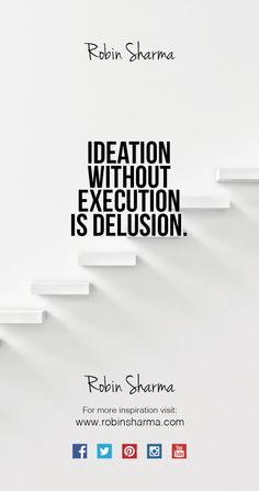 Ideation without execution is delusion. #qotd #inspiration