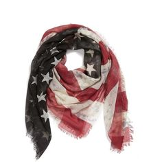 Roffe Accessories American Flag Scarf ($36) ❤ liked on Polyvore featuring accessories, scarves, american flag shawl, roffe accessories, fringe scarves, american flag scarves and striped scarves