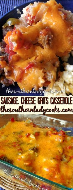 This Sausage, Tomato and Cheese Grits Casserole is wonderful for breakfast along with eggs or make it for a main dish for dinner and serve with a vegetable. This is a recipe you'll want to make over and over. We never have any left when we serve it. Grits Breakfast, Breakfast Dishes, Breakfast Time, Breakfast Casserole, Breakfast Recipes, Breakfast Ideas, Vegan Breakfast, Casserole Recipes, Crockpot Recipes