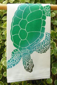 Hawaiian Green Sea Turtle Honu Kitchen Towel by HibiscusTextiles, $14.00