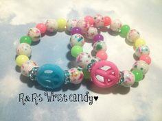 Lil' Divas Color Splash Peace Bracelet by RandRsWristCandy on Etsy, $5.00