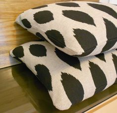Pair of throw pillows black and natural ikat by pillowflightpdx