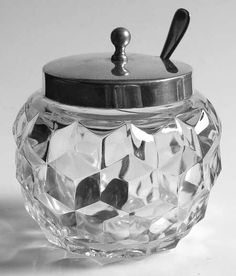 Fostoria American-Clear Necked Rose Bowl w/Metal Lid and Spoon