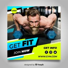 Gym club banner with photo Free Vector Social Media Branding, Social Media Banner, Social Media Template, Social Media Design, Food Poster Design, Graphic Design Posters, Gym Banner, Organizar Instagram, Crea Design